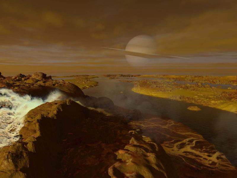 Hydrocarbon river on Titan--Ron Miller 2014